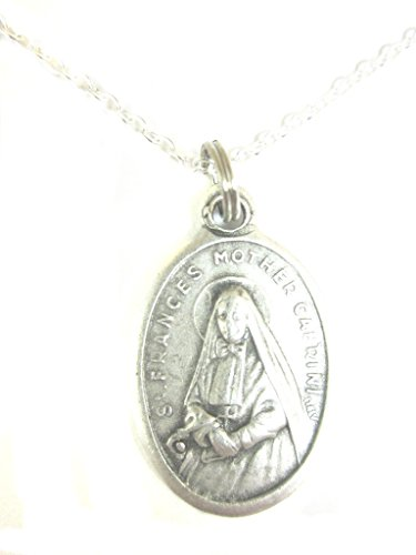 VP&P Silver Tone St Frances Mother Cabrini Medal Pendant Necklace 20