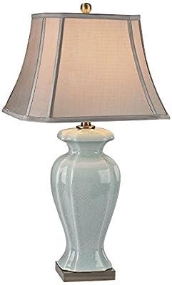 "Artistic Lighting 29"" Ceramic 1-Light Table Lamp, Celadon/Antique Brass"