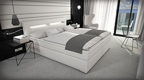 MSA Sam Cama boxspring Sidney con LED, ecopiel Blanca Samolux, colchón con muelles Bonnell