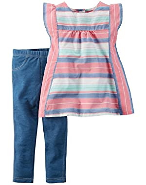 Girl's Striped Tunic & Jeggings Set (3 Months)