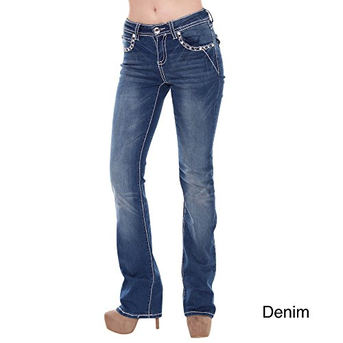 Sexy Couture Women's S95-PB Mid Rise Flare Bottoms Boot Cut Jeans,DENIM,15