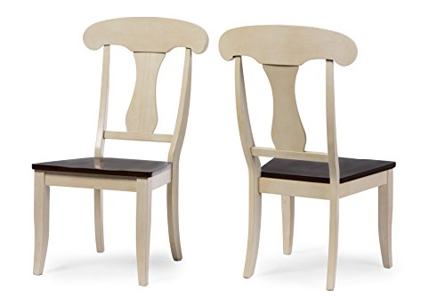 Baxton Studio Wholesale Interiors Set of 2 Napoleon Shabby Dining Side Chairs, Oak/Distressed White ()