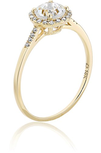 10k Rose Gold African and Diamond Classic Princess Di Halo Engagement Ring (1/8 cttw, H I Color, I1 I2 Clarity), Size 7