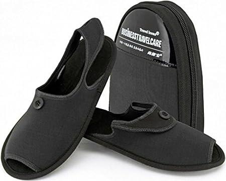 ZeleSouris HM-01 - Zapatillas de andar por casa para hombre y mujer, con bolsa de almacenamiento, calzado plegable, ideal para viaje, negro, L: 42-44: Amazon.es: Hogar