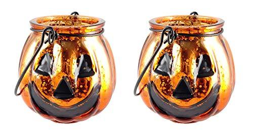 Jack-O-Lantern Mercury Glass Votive Candle Holders - Set of 2 (Glass Jack O-lantern)