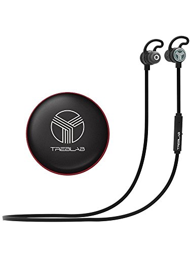 TREBLAB J1 Bluetooth Earbuds, Best Wireless Headphones For Sports Gym Running. [2017 Upgraded] IPX6 Waterproof Sweatproof, Magnetic Secure-Fit Headset. Noise Cancelling Earphones w/ Microphone Mic