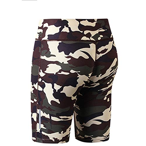 Landscap Womens Fitness Yoga Pants Night Running Training Leggings Five-Minute Quick Drying Shorts(Camouflage,M)