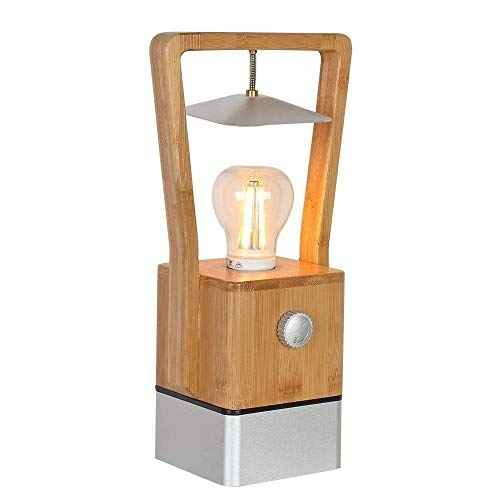 NILINMA Modern Outdoor Wooden Table Lamp Dimmable Bedroom Bedside Lamp USB Charging Function Camping Table Lamp Light Bulb Warm White 2200k Button Type Desk Lighting