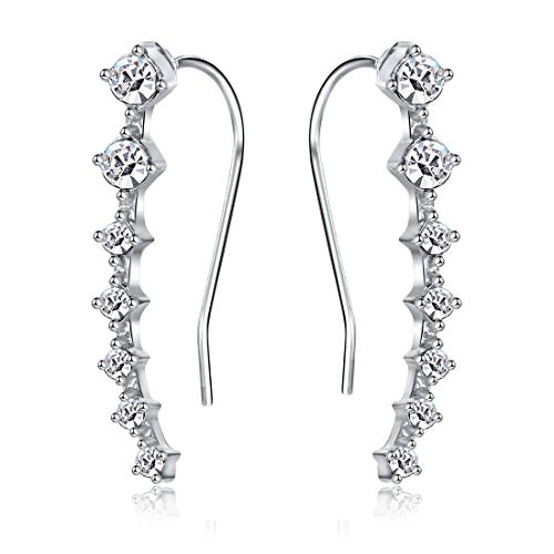 Jewelry Ear Cuff (MengPa Cubic Zircon Crystal Ear Sweep Cuffs Hook Earrings for Women (White))