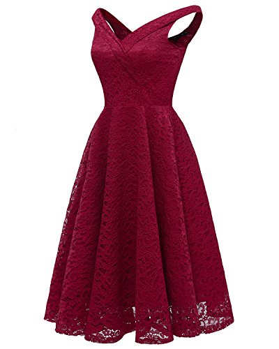 Red Cocktail Elegant Lace Aecibzo Bridesmaid Dress Floral Wine Evening Party Women's 4q4OxZwv