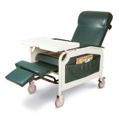Three Position Convalescent Recliner with Tray Color: Hunter Green, Style: IV Pole at Right Rear