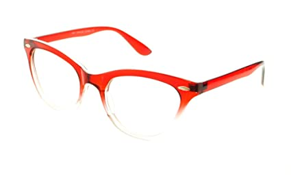 01304efe59 New Womens Half Tinted Modern Retro Clear Lens Cat Eye Glasses Frames (Red)