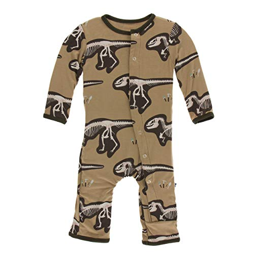 Kickee Pants Little Boys Print Coverall with Snaps - Tannin T-Rex Dig, 12-18 Months