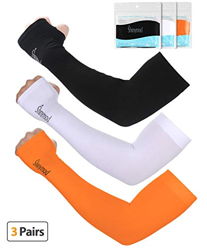 SHINYMOD UV Protection Cooling Arm Sleeves for Men Women Sunblock Cooler Protective Sports Gloves Running Golf Cycling Basketball Driving Fishing Long Arm Cover Sleeves (Black+White+Orange)