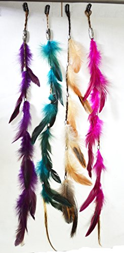OPT®. Bundle 4 Pieces of 23 Inches Multi-Colors Party Highlights Colorful Clip On In Feather Hair Extensions, 100% Real Rooster Feathers. Free Shipping From New York.