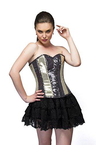 壊す記録親Golden Black Georgette Sequins Gothic Burlesque Waist Training Overbust Corset