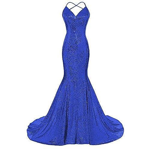 Royal Blue Lace Backless Prom Dress: Amazon.com