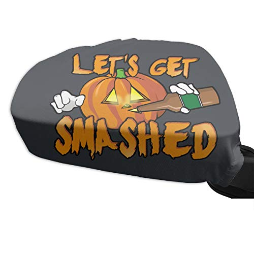 DAFAQUAN Let's Get Smashed Halloween Pumpkin Drinking Beer 2 PCs Car Side Mirror Covers Frost Rain Guard Protector]()