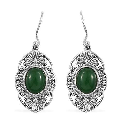 (Dangle Drop Earrings 925 Sterling Silver Oval Green Jade Boho Handmade Jewelry for)