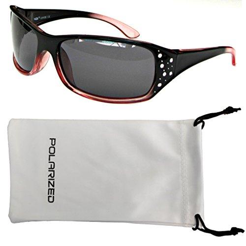 Vox Women's Polarized Sunglasses Designer Sport Fashion Rhinestones Free Microfiber Pouch – Pastel Red & Black Frame - Smoke - Sunglasses Dg Women