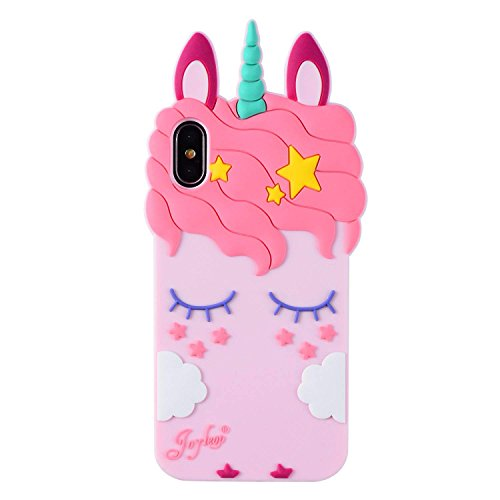 Joyleop Pink Unicorn Case for iPhone X Xs 10,Cute 3D Cartoon Animal Cover,Kids Girls Cool Fun Soft Silicone Rubber Kawaii Character Unique Cases,Fashion Shockproof Skin Protector for iPhoneXs X