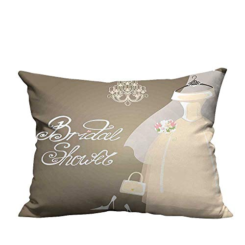 YouXianHome Home DecorCushion Covers Bride Party Wedding Dress and Romantic Letterings Grey White and Light Brown Comfortable and Breathable(Double-Sided Printing) 13.5x19 inch ()