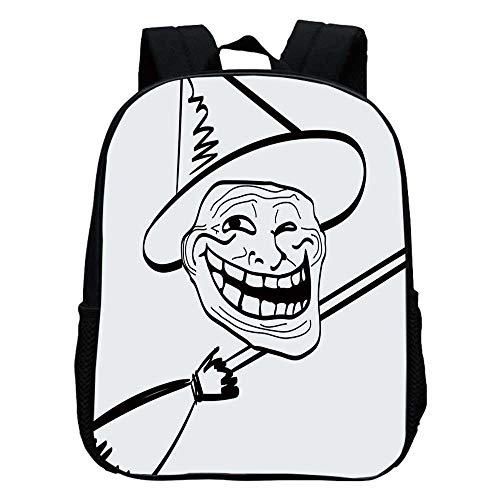 Humor Decor Durable Kindergarten Shoulder Bag,Halloween Spirit Themed Witch Guy Meme Lol Joy Spooky Avatar Artful Image For school,11.8