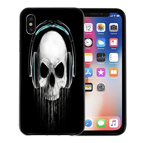 Semtomn Phone Case for Apple iPhone Xs case,Face Graphic Skull Evil Concert Rock and Roll Music Headphone College Cool for iPhone X Case,Rubber Border Protective Case,Black