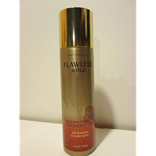 Bath and Body Works New Flawless Gold Japanese Cherry Blossom 24K Shimmer Powder Spray 3.5 Oz