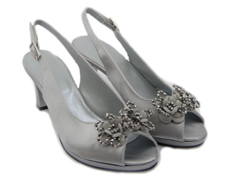 6420 Osvaldo 7 Stiletto Heel Hazards Silver 8 Fabric summer Fly Platform Satin Sandals Cm Mm AqOCq1x