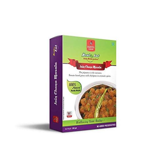 Daivya Aaahar Heat & Eat Jain Chana Masala Ready to Eat Pack, 285g [Pack of 6, 100% Natural Ready Meals, No Added Preservatives]
