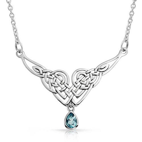 - Blue Topaz Teardrop Irish Celtic Love Knot Triquetra Trinity Statement V Collar Necklace For Women 925 Sterling Silver