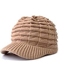 Unisex Winter Hats with Visor Warm ski hat Stylish Knitted hat for Men and Women