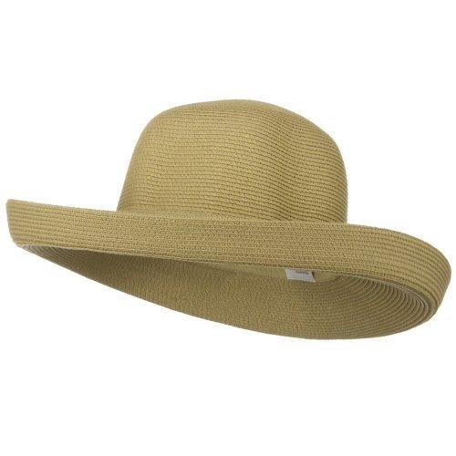 UPF 50+ Cotton Paper Braid Large Kettle Brim Hat - Tan (Paper Hat Brim Braid)
