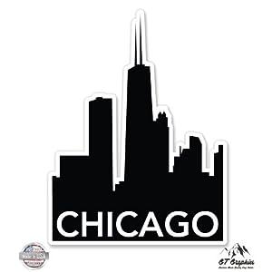 "Chicago Skyline - 3"" Vinyl Sticker - For Car Laptop I-Pad Phone Helmet Hard Hat - Waterproof Decal"