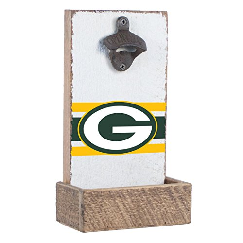 NFL Green Bay Packers, White Background, Team Logo Bottle Opener By Rustic Marlin Designs,  7