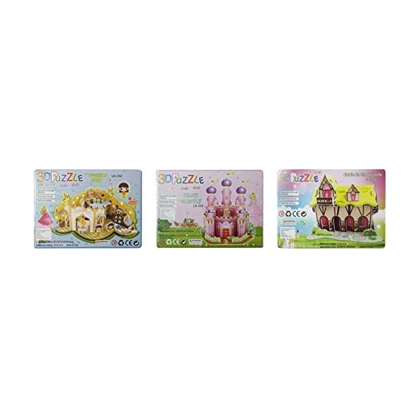 Akshat Pink Castle, Fashion Shop & Cabin in The Woods are The Set of 3 Puzzles (Multicolor) | Jigsaw Puzzle | for Project Making | No Glue & Tool Required