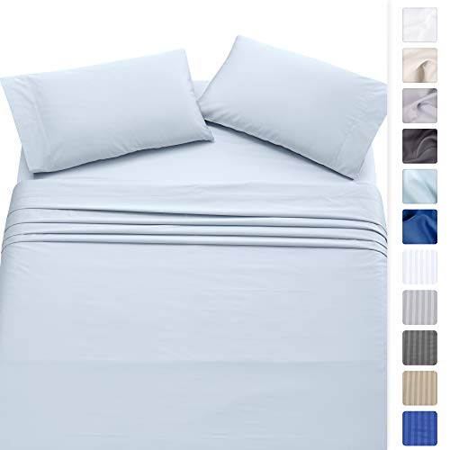 (California Design Den 500-Thread-Count 100% Cotton Twin XL Size Sheets, Long Staple Combed Pure Natural Cotton Light Blue Bed Sheet Set for Kids & Adults, Soft & Silky Sateen Weave)