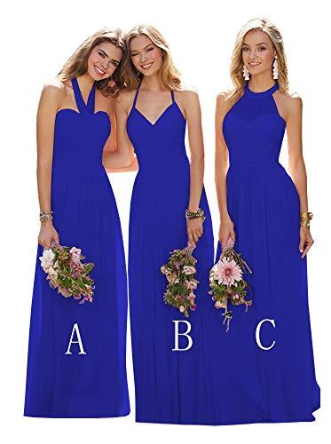 Women's V-Neck Chiffon Bridesmaid Dresses Long Criss-Cross Back Maxi Evening Dress Royal Blue Size 0 ()