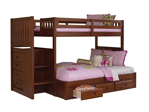 Best Price Discovery World Furniture Mission Staircase Bed with 3 Drawer Storage, Twin over Full, Me...