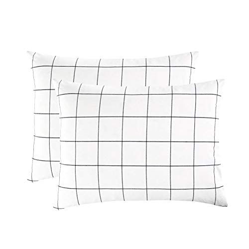 - Wake In Cloud - Pack of 2 Pillow Cases, 100% Washed Cotton Pillowcases, White with Black Grid Geometric Pattern (Standard Size, 20x26 Inches)