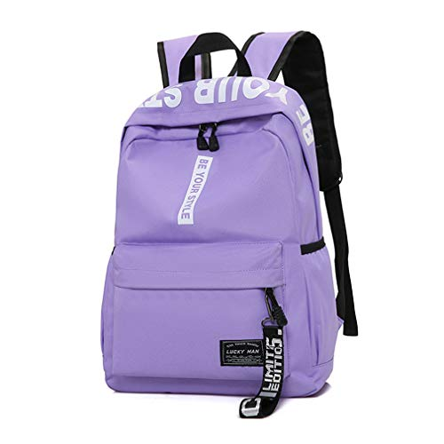 Price comparison product image Men's Nylon Backpacks Male Casual Travel Women Teenagers Student Bags Simple Notebook Laptop Backpack Purple 15 Inch