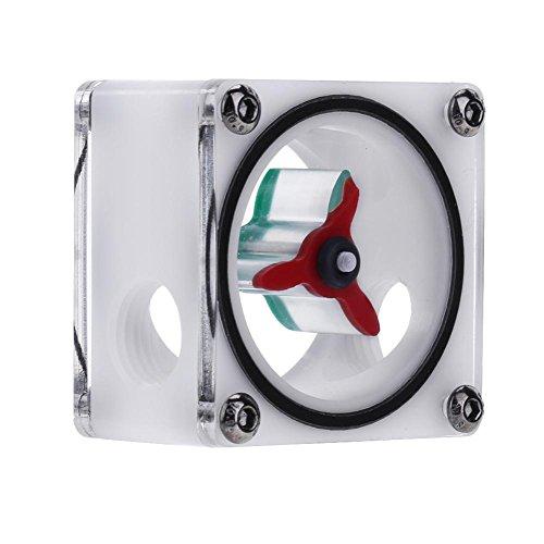 Alloet G1/4 3 Impeller POM Acrylic Water Flow Meter Current Indicator Water Cooler
