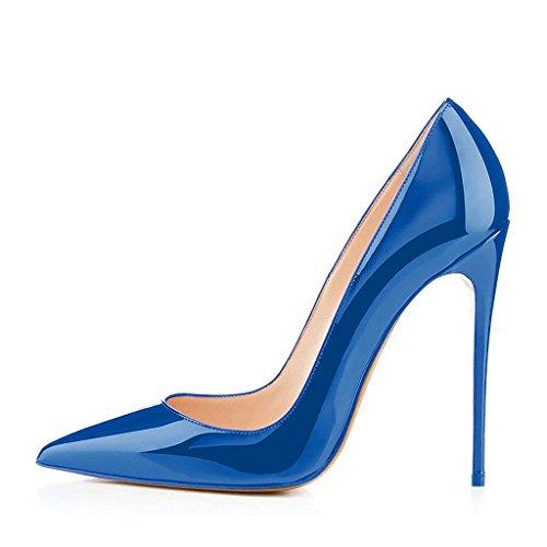 Fsj Vrouwen Casual Avond Hoge Hakken Schoenen Puntschoen Slip Op 10 Cm Pumps Voor Comfort Maat 4-15 Us Blauw