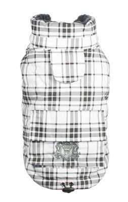 Hip Doggie Pink Plaid Shearling Puffer Vest and Pin - Dog Sizes XS thru XL (XS - Chest 9-11, Neck 8.5