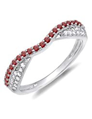 0.36 Carat (ctw) 14k Gold Round Red Ruby & White Diamond Anniversary Wedding Band Stackable Ring 1/3 CT