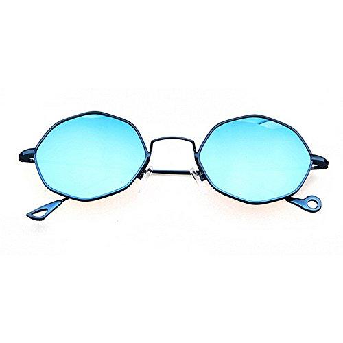 nouveauté Lunettes Bleu Plage Conduire KOMEISHO Exquis Cadre de pour de Métal de Brillants UV Vacances Femmes la des d'été de Plein Designer Protection Soleil Lunettes de Nuances la Polygon qIwAxwf5