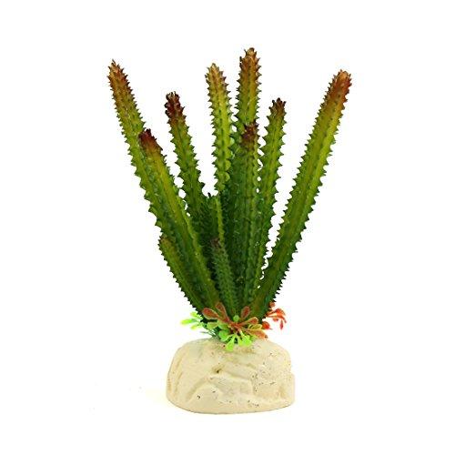 uxcell Green Plastic Cactus Plant Terrarium Reptiles Habitat Decoration Household Decor (Plastic Plant Terrarium)