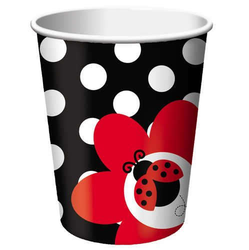 Creative Converting Ladybug Fancy Hot or Cold Beverage Cups, 8-Count