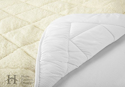 All-Season Sherpa Quilted Fitted Mattress Pad. Two-in-One Fully Reversible for Year Round Use - Breathable Microfiber on One Side and Plush Sherpa on the Other. By Home Fashion Designs. (Twin)